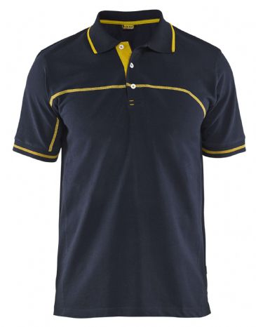 Blaklader 3389 Pique Polo Shirt (Dark Navy Blue/Yellow)